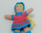Dollhouse Miniature Doll's Knit Doll in Pink and Blue with Blond Hair