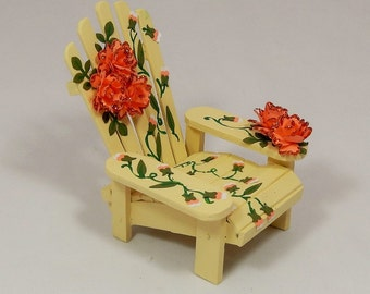 Adirondack Chair Decorated with Roses and Petals for Home Decor in Buttermilk