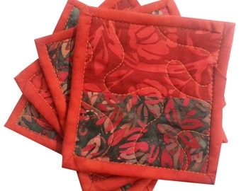 Quilted Coasters in Red and Orange Batiks