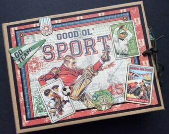 Sports PREMIUM paper bag mini album journal, Graphic 45 Good ol' Sport mini album, Paper Bag Mini Album, Vintage Sportsman Album, Dad Album