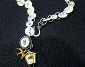 vintage shell button necklace tiny birdhouse womans jewelry