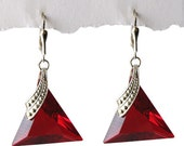 Russian Vintage Red Triangle Crystal Glass Earrings silver plated