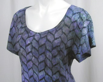 Twisted Strands in Chicory, Lavender, Malachite and Ash. A Hand Dyed Atomic Lace MicroModal Slub Scoop Neck Cropped Top (medium)
