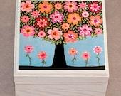 Jewelry Box  Wooden Handmade Jewellery Box  Flowering Tree Jewelry Box  Gift for Girls  Girls Birthday Gift  Girls Christmas Stocking
