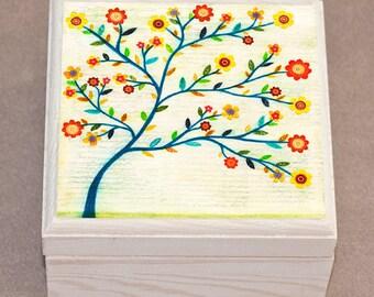 Indigo Tree Jewelry Box, Trinket Box, Collage Tree Gift Box