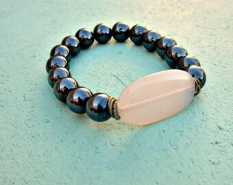 Beaded Hematite Stretch Bracelet with Pink Acrylic Accent Lozenge: Cameo