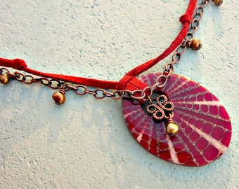 Adjustable Red Faux Suede Cord and Chain Necklace with Red Resin and Shell Pendant: Valentina