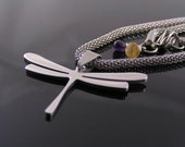 Amethyst and Citrine Dragonfly Necklace, Dragonfly Jewelry, Modernistic Dragonfly Necklace, Stainless Steel