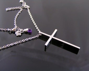 Elegant Cross Necklace, Classic Cross Jewelry, Christian Cross Necklace, Birthstone Available, Customizable Cross Necklace, Cross Birthstone