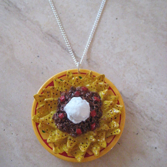 Nacho Plate Necklace - Food Jewelry - Food Necklace