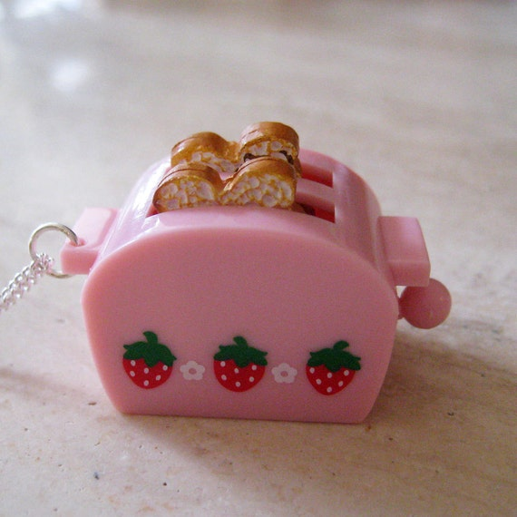 Retro Pink Toaster Necklace with Toast - Food Jewelry