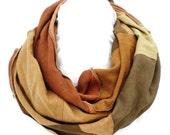 Hemp/Tencel and Hemp/Organic Cotton Infinity Scarf in Shades of Brown Hemp Handmade