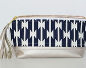 Vegan Leather Essential Oil Bag in Navy and Champagne (essential oil case, essential oil pouch, bag for essential oils)