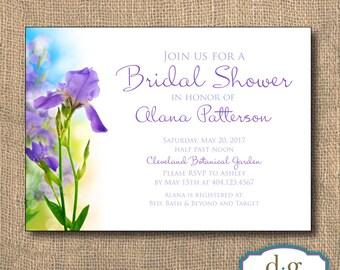 Bridal Shower Invitation, Bridal Shower, Wedding Invitation, Iris, Purple Iris Bridal Shower Invitation, 5x7, PRINTABLE