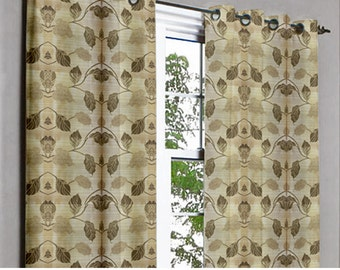 Yellow Leaves Grommet Unlined Curtain in Textured Jacquard Weave Fabric Decor and Housewares Window Treatment Drapes Panels