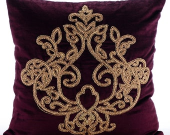 Decorative Throw Pillow Covers Accent Pillow Couch Sofa Bed Pillow 16x16 Plum Velvet Pillow Cover Gold Embroidered Pillow Case Lord Pharaoh