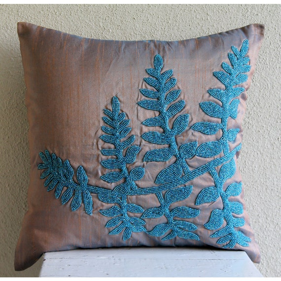 Handmade Blue Throw Pillow Covers 16x16 Silk