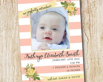 Photo Birth announcement Card - Digital file or Printed Cards - Girl's Birth Announcement- pink stripes floral