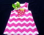 Strawberry Dress, Girls Shift Dress, Pink Dress, Girls Chevron Dress, Reversible Dress, Personalized Dress, Handmade by Groovy Gurlz