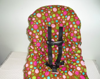 Brown with multicolored dots toddler car seat cover