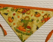 Dog Bandana with Scarecrows and Pumpkin Pie in Tie Style Sizes S to XL