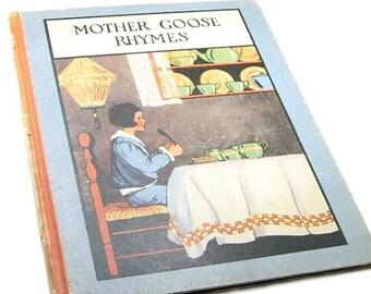 MOTHER GOOSE RHYMES . vintage childrens book . bedtime story . nursery tales . fairy tales