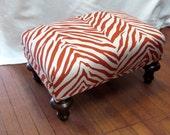 ZEBRA LINEN orange ottoman/tuffet/bench/seating furniture