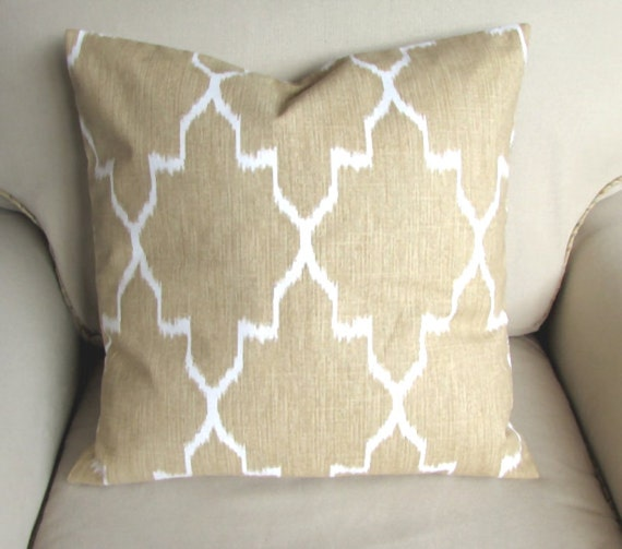 MONACO STRAW 18x18 20x20 22x22 24x24 26x26 ikat Tan white Ikat pillow cover