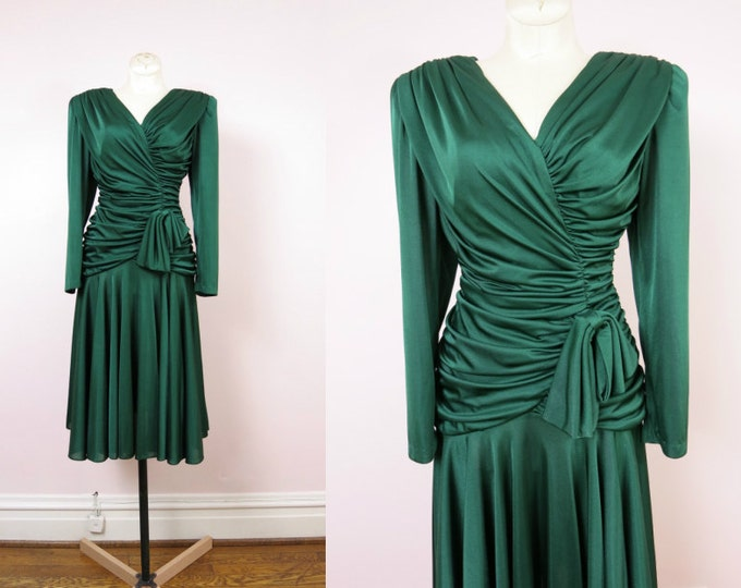1980s Party Dress - 80s Emerald Green Ruched Cocktail Dress Size S