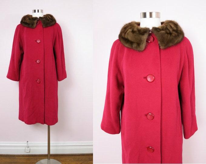 1960s Red Cashmere & Mink Swing Coat L