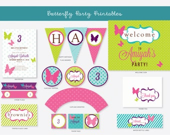 Butterfly Birthday, Birthday Party Package, Invitations, banner, sign, thank you, water bottle label, straw flags, DIY, Printable, template