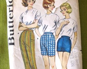1960s Vintage Sewing Pattern - Women's Skinny Slacks, Bermuda Shorts Cigarette Pants Butterick 9779 / 30 Waist