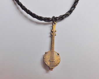 Banjo Charm Necklace antique gold on black leather USA-made lead-free brass pendant