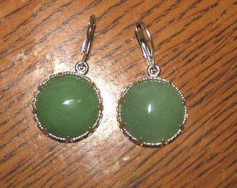 Green Jade in Sterling Dangles on Interchangable LEVERBACK Earrings