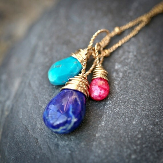 Middle East - Gemstone Trio - Lapis lazuli, Turquoise and Ruby Gold Filled Wire Wrapped Necklace