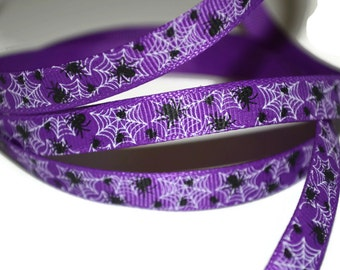Spider Web Grosgrain Ribbon, Halloween Ribbon, Spiderweb Ribbon, Gothic Hairbow, Spiderweb Grosgrain, Holiday Ribbon, Purple Spiderweb