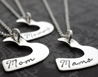 Mother's Heart Necklace Add-On - Personalized Three Generation Necklace Set in Sterling Silver by EWD - Grandmother, Daughter, Granddaughter