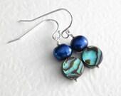 Green Shell Earrings, Cobalt Pearl Jewelry, Blue Dangle Earrings