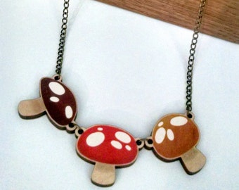 Three Mushrooms wood charm necklace