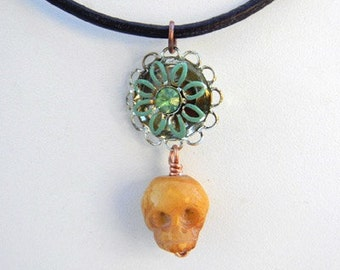 Carved Skull and Vintage Rhinestone Floral Necklace