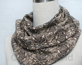 folk style black beige  infinity scarf