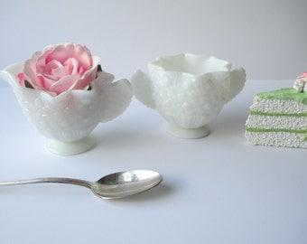 Vintage Fenton Daisy & Button Milk Glass Cream and Sugar Set