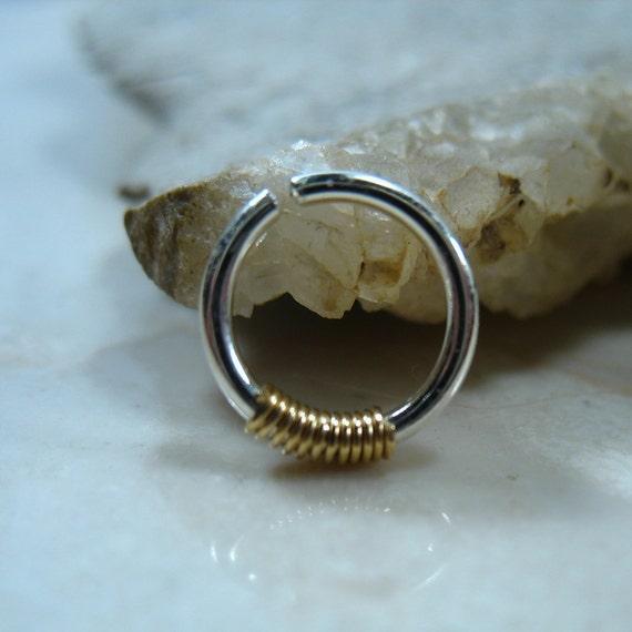 septum ring sterling silver gold wrap septum ring