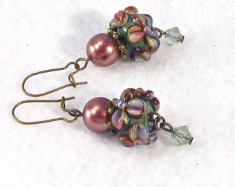 Floral Lampwork Earrings in dark mauve and sage green, flower earrings, kidney wire earrings, XannasJewelryBox, autumn earring