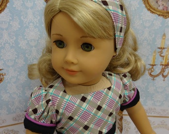 Pleasantly Plaid - vintage style dress for American Girl doll