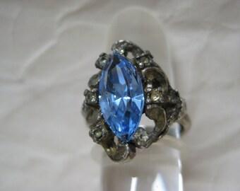Blue Marquise Rhinestone Silver Ring Adjustable Vintage