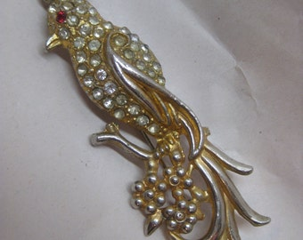 Shabby Chunky Bird Gold Silver Rhinestone Brooch Vintage Pin Clear