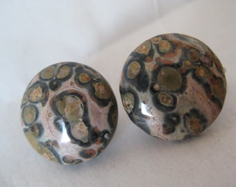 Agate Brown Earrings Clip Stone Vintage Round