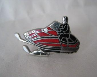 Snowmobile Silver Red Black Pin Brooch Vintage Enamel Lapel