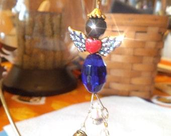 RONNIE A Guardian  ANGEL Ornament, Rearview Mirror Jewel, Suncatcher, Car Gem, Purse Charm